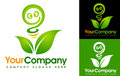 Eco leaf logo illustration drawing representing an energy made out of a green and an abstract light bulb Stock Image