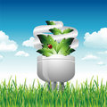 Eco Light Bulb in the Grass Royalty Free Stock Image