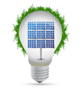 Eco lightbulb and solar panel Royalty Free Stock Image