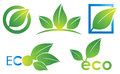 Eco logo an leaf environmantal icon set in colour Royalty Free Stock Photography