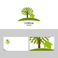 Eco logo with tree and house business card template Stock Photos