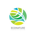 Eco nature - vector logo template concept illustration. Abstract geometric structure in circle shape. Green leaves symbol.