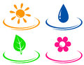 Eco objects set with sun water drop flower and leaf Stock Photography