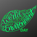 Eco poster,eco banner or eco card for world environment day with stylish typography, and green leaves.