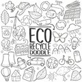 Eco Recycle ReuseTraditional doodle icon hand draw set