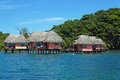 Eco resort above the sea with thatched cabins on tropical island of bastimentos caribbean bocas del toro panama Stock Photography
