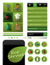 Eco service healthy lifestyle app set of flat web elements icons and buttons Stock Image