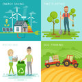 Eco set, recycling, planting trees, energy saving, eco farming themes. Royalty Free Stock Photo