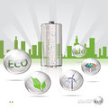 Eco sity icons on city background Stock Photography