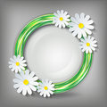 Eco stylish background with d chamomile circle and flower icon element of design floral decorative frame vector Stock Images
