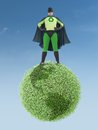 Eco superhero standing green earth planet clean environment concept Royalty Free Stock Image