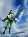 Eco superhero taking away blue container containing hazardous waste high earth Stock Photography
