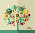 Eco sustainable life tree conservation city conceptual design vector file layered for easy manipulation and custom coloring Stock Image