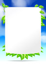Eco text box green leaf and blue sky Royalty Free Stock Photos