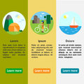 Eco tourism camping cycle tourism sailing type of rest flat vertical banners illustrations Stock Photo