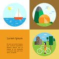 Eco tourism camping cycling sailing type of rest cycle flat vertical banners illustrations can be used for blogs websites Royalty Free Stock Images