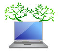 Eco tree laptop illustration Royalty Free Stock Images