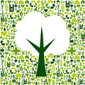 Eco tree symbol with green icons Stock Photo