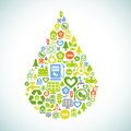 Eco water drop vector background with shape contained of ecology icons Stock Image