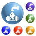 Eco water tap icons set vector