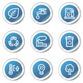Eco web icons set 1, blue sticker series Royalty Free Stock Image