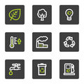 Eco web icons set 1, grey square buttons series Royalty Free Stock Photos