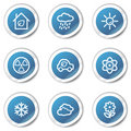 Eco web icons set 2, blue sticker series Royalty Free Stock Photo