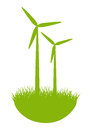 Eco windmills wind turbines on green grass Stock Images
