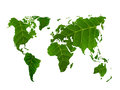 Eco world map made of green leaves Royalty Free Stock Photo