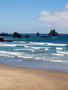 Ecola beach waves on sunny summer day Stock Image