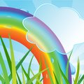 Ecological background with a rainbow and a grass Royalty Free Stock Image