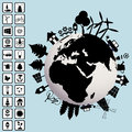 Ecological concept with Earth and environment icons Royalty Free Stock Images