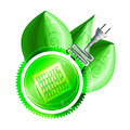 Ecological concept green label with electricity plug solar panels and three shiny leaves dew drops eps Stock Photography