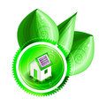 Ecological concept green label with small house three shiny leaves dew drops eps Royalty Free Stock Image
