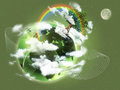 Ecological concept illustration of green planet Earth. Concept of new life, birth, rebirth and hope; ecology.