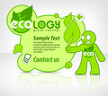 Ecological concept man with message in green vector illustration Royalty Free Stock Photos