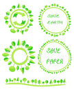 Ecological flat earth green tree circle recycle eco globe element Royalty Free Stock Photo