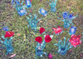 Ecological flowers made from plastic bottles reciclate many colored Royalty Free Stock Images