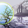 Ecological glass illustration with toxic area and environmentally friendly look through magnifying as appeal to stop pollution Stock Photography