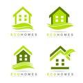 Ecological homes logo eco set real estate icons Stock Photos