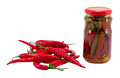 Ecological hot chilli pepper canned glass jar Stock Images