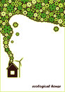 Ecological house vector background green with solar batteries on the roof windmill and flowers going from pipe Stock Photos