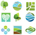 Ecological icons green and eco conceptual Royalty Free Stock Photo