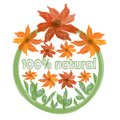 Ecological label with painted watercolor grunge flowers for natural product Royalty Free Stock Images
