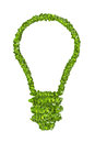 Ecological light bulb icon from the green grass.