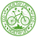 Ecological stamp with bicycle and text healthy life Royalty Free Stock Photography