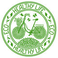 Ecological stamp with bicycle and text healthy life Stock Image