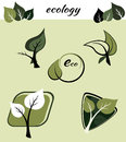 Ecological symbols set of several and signs contains plants leaves twigs Stock Photography