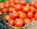Ecological tomatoes in a market Royalty Free Stock Image