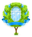 Ecological window concept with green tree Royalty Free Stock Image